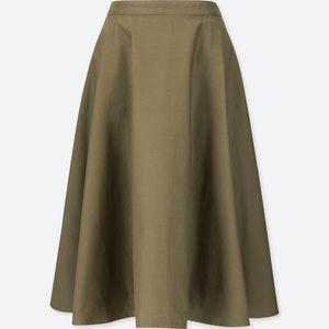 High waisted navy midi circle skirt